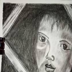 dreaming child, 17 x 12 inch, chandana dey,17x12inch,fabriano sheet,paintings,conceptual paintings,charcoal,GAL03054744912