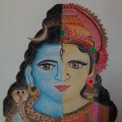 ardha narishwar, 12 x 17 inch, chandana dey,12x17inch,fabriano sheet,paintings,religious paintings,charcoal,pastel color,GAL03054744913