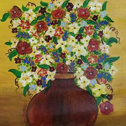 pot with flowers, 26 x 19 inch, raj gaurav,26x19inch,canvas,paintings,abstract paintings,flower paintings,modern art paintings,nature paintings | scenery paintings,abstract expressionism paintings,paintings for dining room,paintings for living room,paintings for bedroom,paintings for office,paintings for bathroom,paintings for kids room,paintings for hotel,paintings for kitchen,paintings for school,paintings for hospital,acrylic color,GAL01793844919