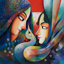 intimacy  1, 24 x 24 inch, sanjay  tandekar ,24x24inch,canvas,paintings,contemporary paintings,love paintings,paintings for living room,paintings for bedroom,paintings for office,paintings for hotel,acrylic color,GAL0281044920