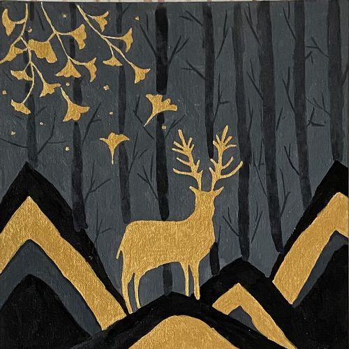 golden deer, 12 x 16 inch, rushali rana,12x16inch,canvas,paintings,minimalist paintings,acrylic color,GAL03205944921
