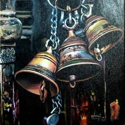 temple bell, 12 x 16 inch, dhanush k,12x16inch,canvas,paintings,religious paintings,paintings for living room,paintings for office,acrylic color,GAL03073944923