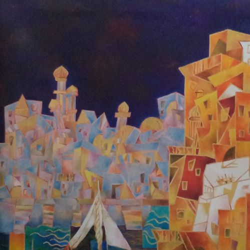 by the lake, 30 x 40 inch, chaitali chatterjee,30x40inch,canvas,paintings,cityscape paintings,oil color,GAL01566244925