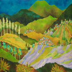 lavender and lemongrass fields, 35 x 32 inch, chaitali chatterjee,35x32inch,canvas,paintings,landscape paintings,oil color,GAL01566244926
