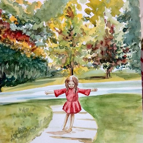 joyful wet feet, 8 x 10 inch, deepthi telikicherla,nature paintings,paintings for living room,thick paper,watercolor,8x10inch,GAL08824494Nature,environment,Beauty,scenery,greenery