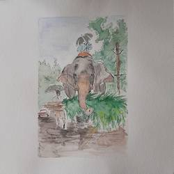 elephant, 12 x 12 inch, remya george,12x12inch,brustro watercolor paper,paintings,wildlife paintings,nature paintings | scenery paintings,paintings for dining room,paintings for living room,paintings for bedroom,paintings for office,paintings for bathroom,paintings for kids room,paintings for hotel,paintings for school,watercolor,GAL03212244941