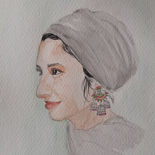 lady in turban, 7 x 12 inch, remya george,7x12inch,fabriano sheet,paintings,portrait paintings,paintings for dining room,paintings for living room,paintings for bedroom,paintings for office,paintings for bathroom,paintings for kids room,paintings for hotel,paintings for school,watercolor,GAL03212244943