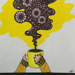 a cup of imagination, 9 x 11 inch, shruti pantode,9x11inch,drawing paper,paintings,still life paintings,pen color,watercolor,GAL03208344953