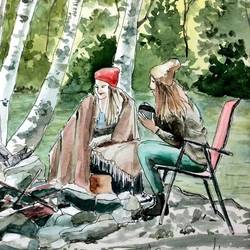 girls camping!, 9 x 11 inch, deepthi telikicherla,figurative paintings,paintings for living room,brustro watercolor paper,watercolor,9x11inch,GAL08824497