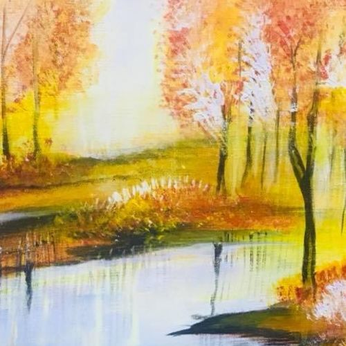 riverside, 12 x 17 inch, selen mohan,12x17inch,canvas,abstract paintings,landscape paintings,acrylic color,GAL03214844973