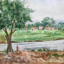 landscape, 16 x 12 inch, ram mohan e,16x12inch,brustro watercolor paper,paintings,landscape paintings,nature paintings | scenery paintings,impressionist paintings,paintings for dining room,paintings for living room,paintings for bedroom,paintings for office,paintings for kids room,paintings for hotel,paintings for school,watercolor,GAL069744977
