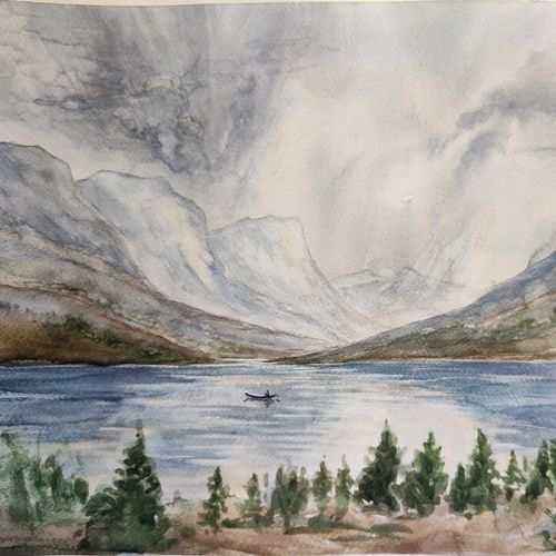 landscape, 16 x 12 inch, ram mohan e,16x12inch,brustro watercolor paper,paintings,landscape paintings,nature paintings   scenery paintings,impressionist paintings,paintings for dining room,paintings for living room,paintings for bedroom,paintings for office,paintings for kids room,paintings for hotel,paintings for school,watercolor,GAL069744978