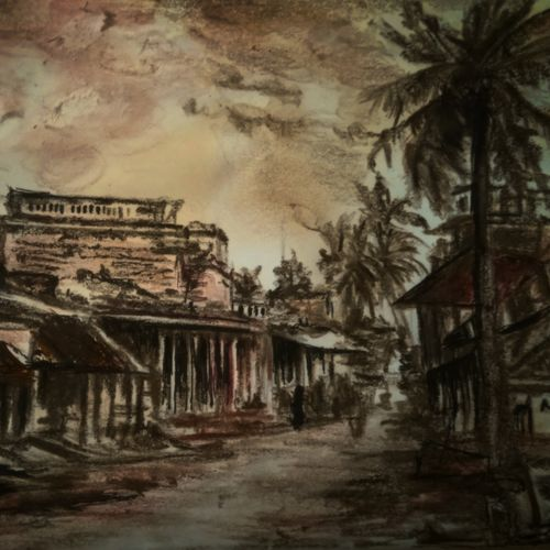 pondicherry, 12 x 12 inch, christina  joseph ,12x12inch,canvas board,paintings,cityscape paintings,paintings for living room,acrylic color,mixed media,photo ink,GAL03215444988