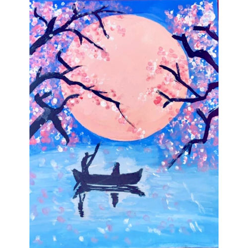 aesthetic moon and cherry blossoms painting , 8 x 10 inch, niharika dahiya,8x10inch,canvas board,nature paintings   scenery paintings,expressionism paintings,realism paintings,surrealism paintings,paintings for dining room,paintings for living room,paintings for bedroom,paintings for office,paintings for kids room,paintings for hotel,paintings for kitchen,paintings for school,paintings for dining room,paintings for living room,paintings for bedroom,paintings for office,paintings for kids room,paintings for hotel,paintings for kitchen,paintings for school,acrylic color,GAL03217144994