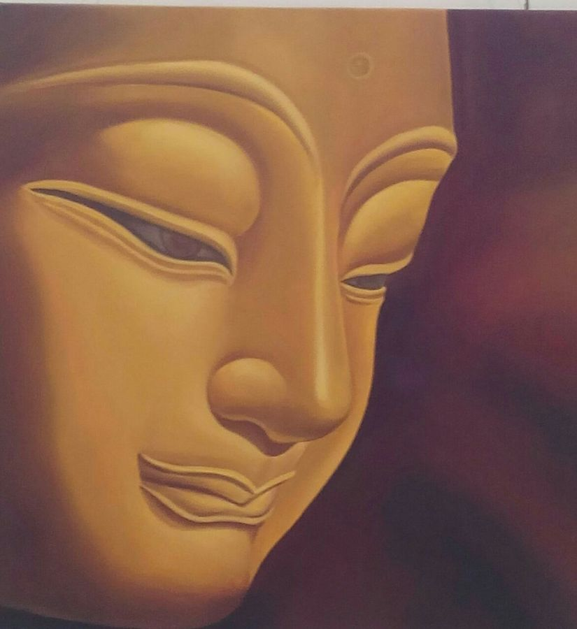 buddha  -meditation, 36 x 36 inch, vaishali desai,buddha paintings,paintings for living room,paintings for office,canvas,oil,36x36inch,religious,peace,meditation,meditating,gautam,goutam,buddha,lord,brown,side face,GAL01645