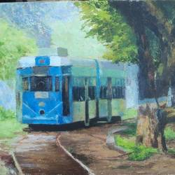 tram, 20 x 16 inch, sangita sarkar,landscape paintings,paintings for living room,canvas,oil,20x16inch,GAL015594500