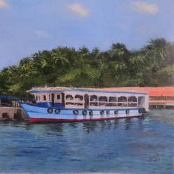 ross island, 24 x 19 inch, sangita sarkar,landscape paintings,paintings for dining room,canvas,oil,24x19inch,GAL015594501