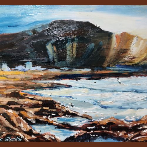 rocky hill, 8 x 6 inch, shankhadeep  mondal,8x6inch,thick paper,paintings,landscape paintings,modern art paintings,conceptual paintings,paintings for dining room,paintings for living room,paintings for bedroom,paintings for office,paintings for kids room,paintings for hotel,paintings for kitchen,paintings for school,paintings for hospital,oil color,GAL01403045014