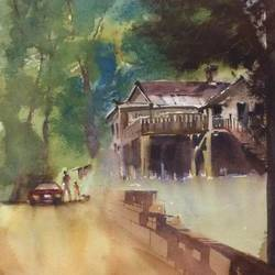 original watercolour painting on archies paper 300 gsm, 14 x 21 inch, dipankar  biswas,14x21inch,arches paper,paintings,cityscape paintings,landscape paintings,nature paintings | scenery paintings,art deco paintings,minimalist paintings,paintings for dining room,paintings for living room,paintings for bedroom,paintings for office,paintings for hotel,paintings for school,watercolor,GAL0293245015