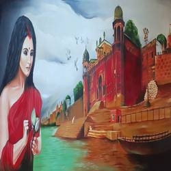 banaras ghat o1, 24 x 60 inch, amit banerjee,24x60inch,canvas,paintings,abstract paintings,figurative paintings,modern art paintings,abstract expressionism paintings,oil color,GAL0848145026