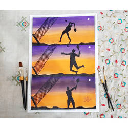 sunset badminton series, 12 x 17 inch, ishita singh,12x17inch,paper,multi piece paintings,paintings for dining room,paintings for living room,paintings for bedroom,paintings for kids room,paintings for school,paintings for dining room,paintings for living room,paintings for bedroom,paintings for kids room,paintings for school,acrylic color,paper,GAL03223245027
