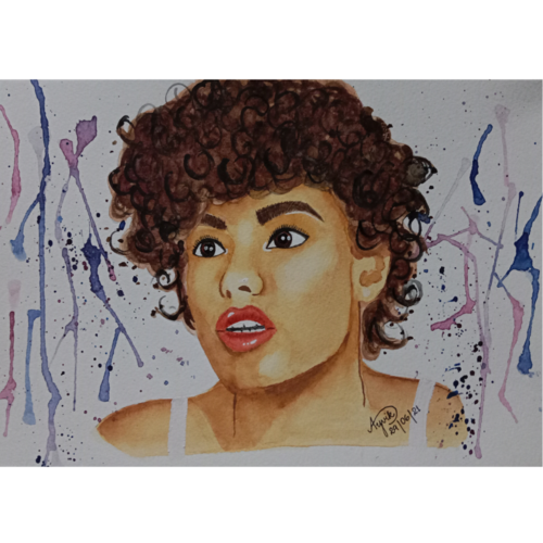dazzle girl, 12 x 8 inch, ayvik christopher,12x8inch,canson paper,paintings,modern art paintings,portrait paintings,pop art paintings,realistic paintings,paintings for dining room,paintings for living room,paintings for bedroom,paintings for office,paintings for kids room,paintings for hotel,paintings for school,watercolor,GAL03223545034