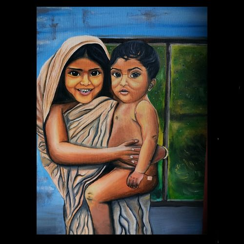 village love, 18 x 24 inch, shruti bokade,18x24inch,canvas,paintings,landscape paintings,religious paintings,portrait paintings,photorealism paintings,photorealism,portraiture,realism paintings,surrealism paintings,animal paintings,contemporary paintings,realistic paintings,love paintings,baby paintings,children paintings,kids paintings,paintings for dining room,paintings for living room,paintings for bedroom,paintings for office,paintings for kids room,paintings for hotel,paintings for school,paintings for hospital,oil color,GAL03221545045