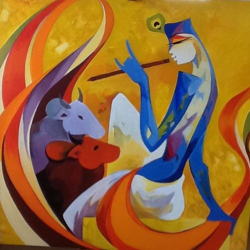 the divine melody, 36 x 36 inch, laxmi mysore,36x36inch,canvas,paintings,figurative paintings,acrylic color,GAL03226145051