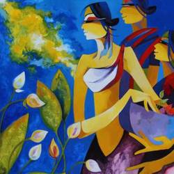 the flower collectors, 36 x 36 inch, laxmi mysore,36x36inch,canvas,paintings,figurative paintings,modern art paintings,abstract expressionism paintings,contemporary paintings,paintings for dining room,paintings for living room,paintings for bedroom,paintings for office,paintings for bathroom,paintings for hotel,paintings for kitchen,paintings for school,paintings for hospital,acrylic color,GAL03226145053