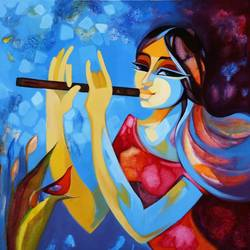 the divine melody2, 24 x 24 inch, laxmi mysore,24x24inch,canvas,paintings,figurative paintings,conceptual paintings,religious paintings,abstract expressionism paintings,expressionism paintings,contemporary paintings,love paintings,paintings for dining room,paintings for living room,paintings for bedroom,paintings for office,paintings for bathroom,paintings for kids room,paintings for hotel,paintings for kitchen,paintings for school,paintings for hospital,acrylic color,GAL03226145054