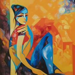 the evening respite, 33 x 36 inch, laxmi mysore,33x36inch,canvas,paintings,figurative paintings,folk art paintings,cityscape paintings,modern art paintings,conceptual paintings,cubism paintings,expressionism paintings,love paintings,paintings for dining room,paintings for living room,paintings for bedroom,paintings for office,paintings for bathroom,paintings for kids room,paintings for hotel,paintings for kitchen,paintings for school,paintings for hospital,acrylic color,GAL03226145066