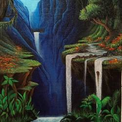 waterfall mountain , 15 x 11 inch, muhd shibil,15x11inch,canvas,paintings,abstract paintings,landscape paintings,modern art paintings,nature paintings | scenery paintings,realism paintings,realistic paintings,love paintings,water fountain paintings,kerala murals painting,paintings for dining room,paintings for living room,paintings for bedroom,paintings for office,acrylic color,GAL01966545069