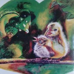 the momma and the baby bird, 6 x 6 inch, raya naskar,6x6inch,thick paper,paintings,wildlife paintings,pencil color,GAL03194445090