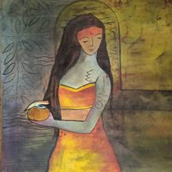 devotion - 2, 12 x 12 inch, priyanka arora,12x12inch,canvas board,paintings,abstract paintings,figurative paintings,modern art paintings,conceptual paintings,paintings for dining room,paintings for living room,paintings for office,mixed media,GAL03233845098
