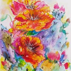 cactus flower, 8 x 12 inch, indranil ghosh,8x12inch,thick paper,paintings,flower paintings,watercolor,GAL03233545102