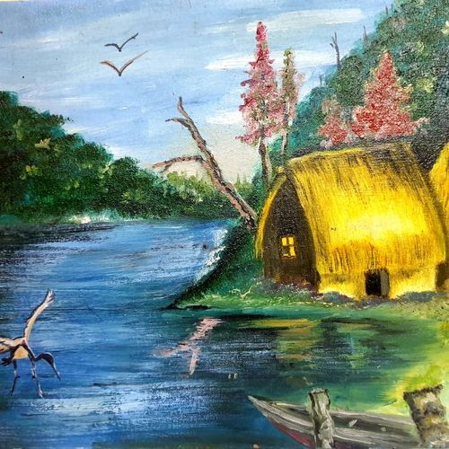 huts on the bank of river, 24 x 16 inch, meeta sinha,24x16inch,canvas,paintings,landscape paintings,oil color,GAL03234445109
