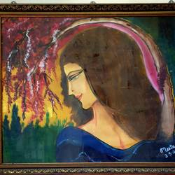 girl with flower tree, 26 x 21 inch, meeta sinha,26x21inch,thick paper,figurative paintings,oil color,GAL03234445110