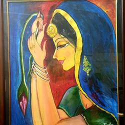 lady with lotus bud in her hand, 18 x 24 inch, meeta sinha,18x24inch,canvas,paintings,figurative paintings,oil color,GAL03234445111