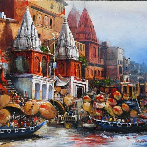benaras ghat v, 36 x 30 inch, indrajit karmakar,36x30inch,canvas,paintings,landscape paintings,paintings for dining room,paintings for living room,paintings for bedroom,paintings for office,paintings for hotel,acrylic color,GAL02980945118