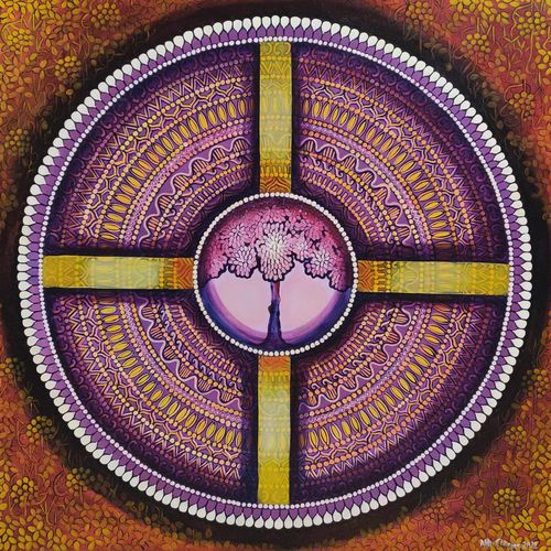 wheel of life, 36 x 36 inch, nitu chhajer,36x36inch,canvas,paintings,abstract paintings,acrylic color,GAL058245127