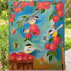 apple - birds, 16 x 20 inch, pradnya joshi,16x20inch,canvas,paintings,nature paintings | scenery paintings,paintings for living room,oil color,GAL03235445138
