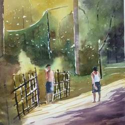 friends are for ever..original watercolour painting on 300 gsm arches handmade paper, 14 x 21 inch, dipankar  biswas,14x21inch,arches paper,paintings,figurative paintings,landscape paintings,nature paintings | scenery paintings,art deco paintings,impressionist paintings,paintings for dining room,paintings for living room,paintings for bedroom,paintings for office,paintings for kids room,paintings for hotel,paintings for school,paintings for hospital,paintings for dining room,paintings for living room,paintings for bedroom,paintings for office,paintings for kids room,paintings for hotel,paintings for school,paintings for hospital,watercolor,paper,GAL0293245139