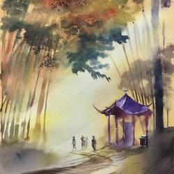 china, original watercolour painting on archies watercolour paper with daniel smith watercolour, 14 x 21 inch, dipankar  biswas,14x21inch,arches paper,paintings,landscape paintings,nature paintings | scenery paintings,art deco paintings,paintings for dining room,paintings for living room,paintings for bedroom,paintings for office,paintings for kids room,paintings for hotel,paintings for school,paintings for hospital,watercolor,paper,GAL0293245140