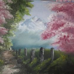 wall painting a path, 14 x 12 inch, mohit bhardwaj,14x12inch,canvas,paintings,nature paintings | scenery paintings,realistic paintings,paintings for dining room,paintings for living room,paintings for bedroom,paintings for office,paintings for kids room,paintings for hotel,paintings for school,paintings for hospital,oil color,GAL03193145141