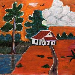 house in a natural environment, 8 x 10 inch, selvaraj g,8x10inch,canvas,paintings,nature paintings | scenery paintings,paintings for living room,paintings for office,paintings for kids room,acrylic color,GAL03230145145