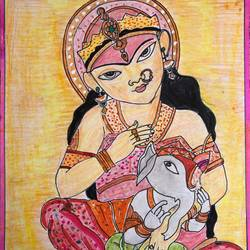 parvathi with vinayagar/ganesha, 8 x 9 inch, selvaraj g,8x9inch,thick paper,paintings for living room,paintings for office,folk drawings,radha krishna drawings,ganesha drawings,paintings for living room,paintings for office,pencil color,paper,GAL03230145148