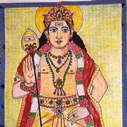 tamil god murugan, 9 x 11 inch, selvaraj g,9x11inch,thick paper,drawings,folk drawings,portrait drawings,paintings for living room,paintings for office,paintings for kids room,pencil color,paper,GAL03230145149