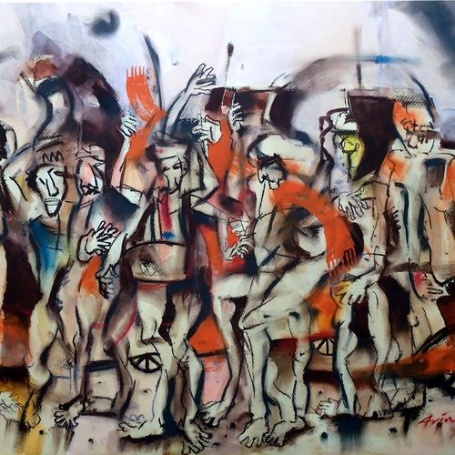 pilgrim 2, 28 x 22 inch, arindam chakraborty,abstract paintings,paintings for office,fabriano sheet,mixed media,28x22inch,GAL015934515