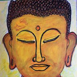 calm buddha, 7 x 10 inch, selvaraj g,7x10inch,thick paper,paintings,buddha paintings,religious paintings,portrait paintings,paintings for living room,paintings for office,paintings for kids room,acrylic color,GAL03230145150