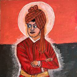swami vivekanandha, 8 x 10 inch, selvaraj g,8x10inch,canvas,paintings,religious paintings,portrait paintings,paintings for living room,paintings for office,acrylic color,paper,GAL03230145152